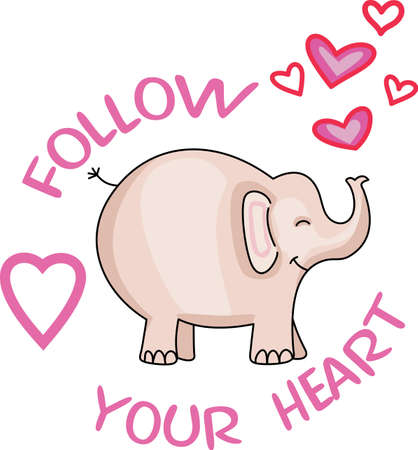 pachyderm: Follow your heart with this adorable elephant.  Perfect for a nursery.