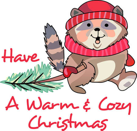 coons: Send holiday cheers with these beautiful Christmas raccoon. Pick those designs by Great Notions!