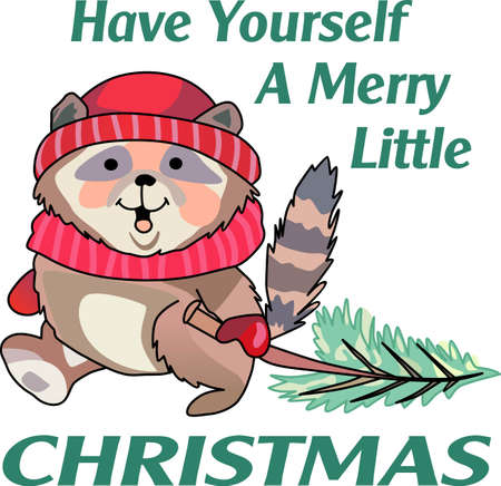 Send holiday cheers with these beautiful Christmas raccoon. Pick those designs by Great Notions! Banco de Imagens - 44989149