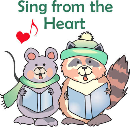carolers: Send some Christmas Cheer with this cute carolers.  Everyone will love it! Illustration