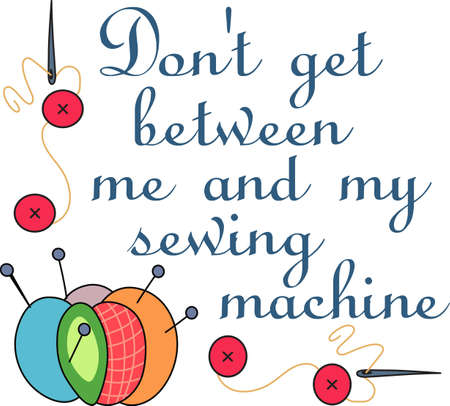 seamstress: The seamstress or quilter in your family spends lots of time sewing holes, buttons and making beautiful items.  This design is perfect for them! They will love it! Illustration