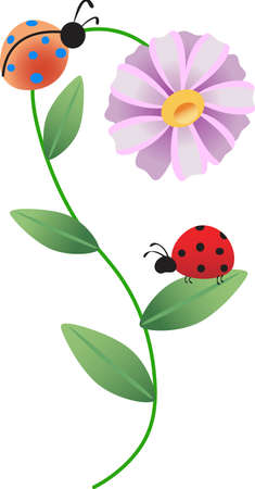 This a beautiful design of ladybugs and daisies will be beautiful to add to a shirt or vest. Illustration