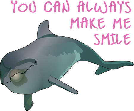 Send this cute dolphin to a child or child at heart.  They will love it! Illustration