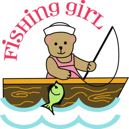 This cute design is for the girl who loves to go fishing.  Get these designs from Great Notions. 矢量图像