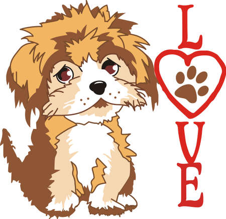 This adorable puppy is a great companion to giving a real puppy to a loved one.  They will love this design from Great Notions. Ilustração