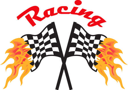 racing checkered flag crossed: Start your engines its time to race.  Get these flaming designs from Great Notions. Illustration