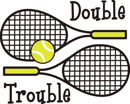테니스 게임을 좋아하는 특별한 테니스 선수를 생각 나게하십시오. 테니스를 함께하는 것을 좋아하는 커플에게 딱! 스톡 콘텐츠 - 45001063