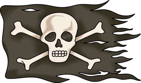 jolly roger pirate flag: Pirate flag is a perfect addition to a boys theme room.  He will love this image from Great Notions. Illustration