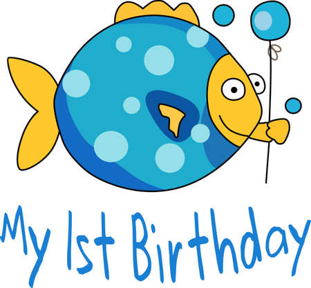 Send some birthday cheer  with this cute fish bringing a balloon.  Çizim