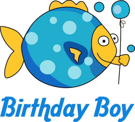 Send some birthday cheer  with this cute fish bringing a balloon.