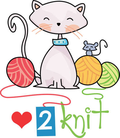 Kittens love to play with a ball of yarn.  Give this design to your favorite knitter.  She will love it! Stok Fotoğraf - 45024478