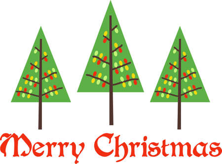 conifers: Send holiday cheers with these beautiful Christmas trees.  Illustration