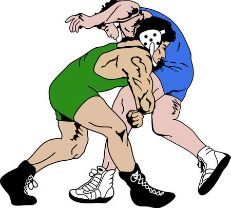 Wrestling is a very active sport taking years to master.  This is a wonderful design they  will love it. Иллюстрация