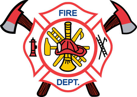 firefighters maltese cross: Firefighters work hard every day to risk their lives for others.  Show them how much you appreciate them with this design from Great Notions. Illustration