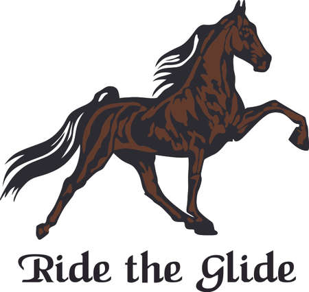 This graceful horse with the wind blowing its mane will be beautiful on a shirt, vest or jacket.