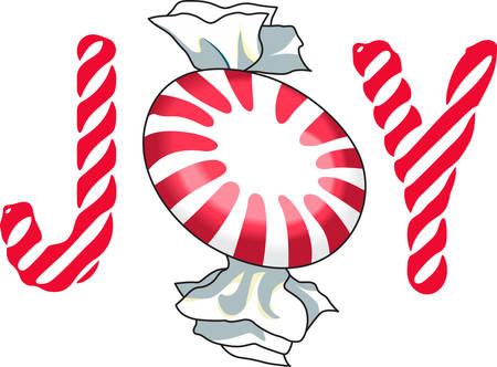 Everyone loves candy for Christmas!  Perfect idea for favors.  They will love this cute design of peppermint! Ilustracja