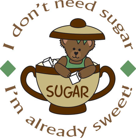 A beary good way to start the day with this cute bear ready to put a cube of sugar in your coffee. Ilustração
