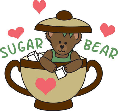 sugar cube: A beary good way to start the day with this cute bear ready to put a cube of sugar in your coffee. Illustration