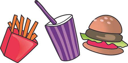 Fast food è l'alternativa rapida quando in fretta. Aggiungere questo disegno carino per una camicia. Archivio Fotografico - 45027615