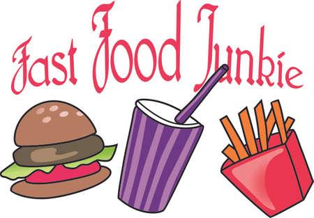 La comida rápida es la alternativa rápida cuando se tiene prisa. Añada este diseño lindo de una camisa. Foto de archivo - 45027617