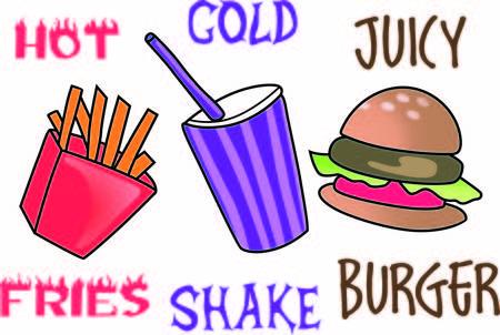 Fast food è l'alternativa rapida quando in fretta. Aggiungere questo disegno carino per una camicia. Archivio Fotografico - 45027618
