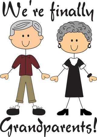Eindelijk grootouders! Trots op het leren zullen ze grootouders, gebruik dit ontwerp om hen te vertellen het goede nieuws. Stock Illustratie