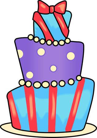 ケーキで特別な誕生日を祝います。  イラスト・ベクター素材