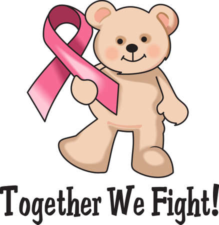 This is a cute bear with the breast cancer ribbon! Support someone you know and help find a cure for breast cancer.  Send hope and awareness to all! Stock Vector - 45056378