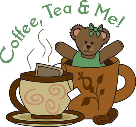 A beary good way to start the day with this cute bear and a nice warm cup of tea. Ilustrace
