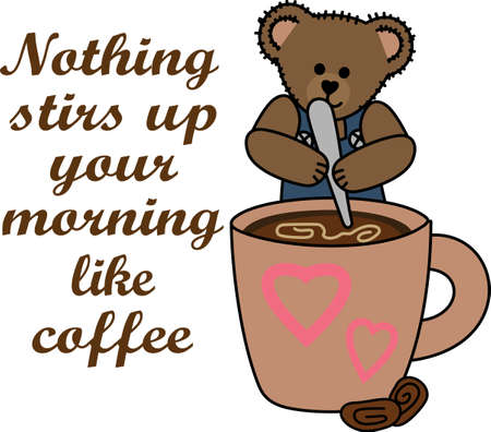 Nothing brings a smile to starting off the morning right with this cute bear and a cup of coffee. Çizim
