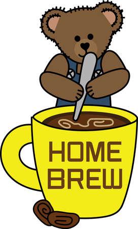 何は、このかわいいクマと一杯のコーヒーで右朝出発に笑顔をもたらします。  イラスト・ベクター素材