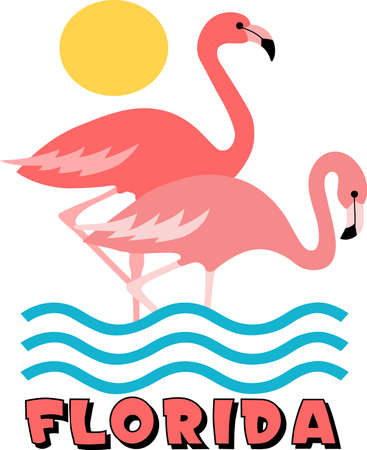 florida flamingo: This adorable flamingo says think pink.  Send this happy flamingo to a child.  They will love it! Illustration