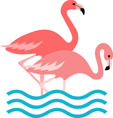 water fowl: This adorable flamingo says think pink.  Send this happy flamingo to a child.  They will love it! Illustration