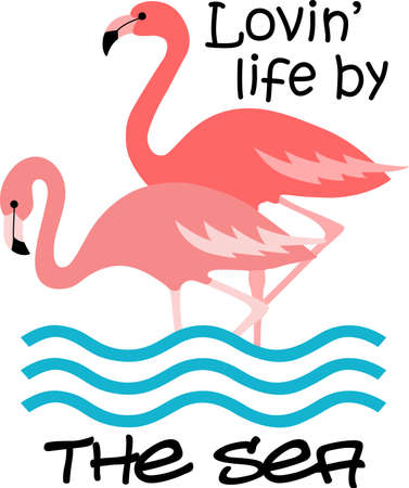 This adorable flamingo says think pink.  Send this happy flamingo to a child.  They will love it!  イラスト・ベクター素材