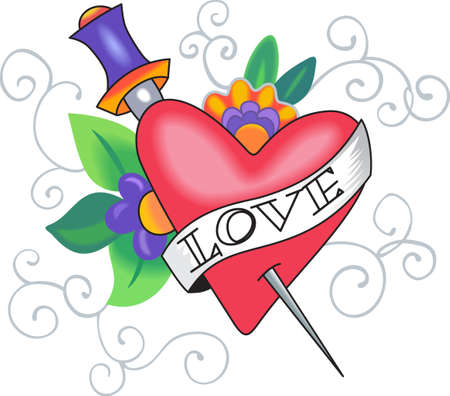 sword and heart: Send this beautiful heart for Valentines day.  She will love it! Illustration