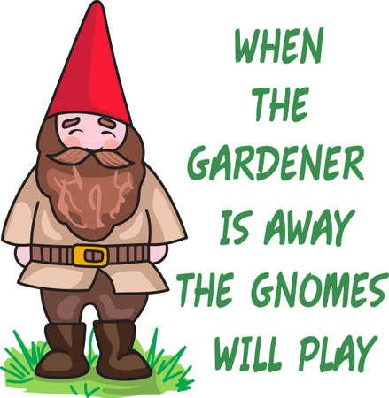 Wanneer de tuinman weg is, zal de kabouters spelen. Dit is het perfecte ontwerp voor uw tuinman. Ze zullen love it! Stock Illustratie