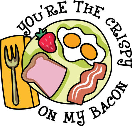 Youre the crispy on my bacon.  Get these designs from Great Notions. Иллюстрация