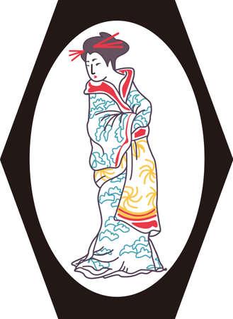 donna giapponese: La donna giapponese � un bel disegno. Sar� perfetto per un regalo. Vettoriali