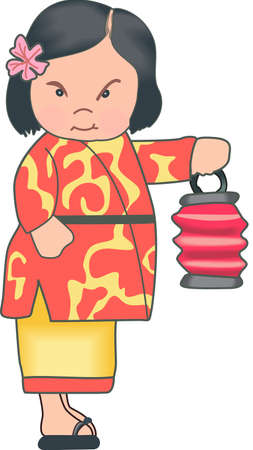 The Japanese child is a beautiful design.  It will be perfect for a gift. Ilustração