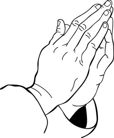 orando manos: Usted conf�a sus ense�anzas religiosas servicio sin fin de un pastor y de oraci�n para ayudar a otros. Este dise�o es perfecto para agradecer a ellos! Se les va a encantar! Vectores