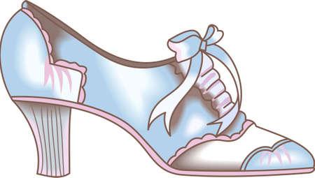 De Victoriaanse schoen is de perfecte ontwerp voor Dickens festivals. Krijg deze ontwerpen uit Groot Notions. Stock Illustratie