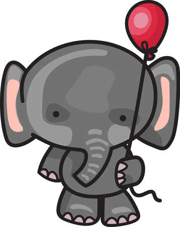 This adorable elephant is ready for the birthday party.  Send this happy elephant to a child.  They will love it! Ilustração