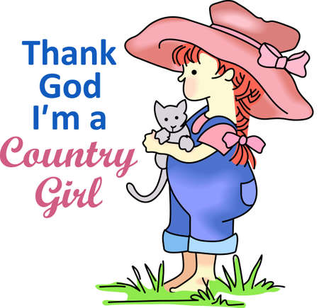 The country girl with a kitten reminds of a relaxing place to visit and get away from the fast pace of the city.  This is a cute design from Great Notions.