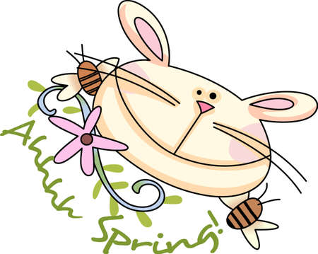 jack rabbit: Be happy with the springtime with beautiful flowers and bees.  A beautiful design by Great Notions.