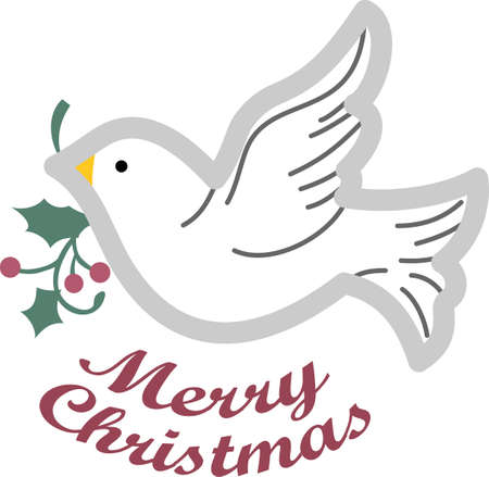 Send some Christmas cheer with these doves and hearts.  Joy, peace and love!  These make a perfect house warming gift.  They will love it! Reklamní fotografie - 45056805