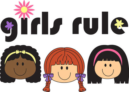 Girls rule, boys drool.  Support girl power with this design from Great Notions. Illustration