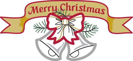 Verzend wat Kerstmis toejuichen met deze klokken. Blijdschap, vrede en liefde! Deze maken een perfecte huis verwarmende gift. Zij zullen love it! Stock Illustratie