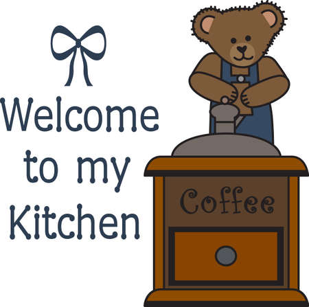 Good morning sunshine!  This cute bear is bringing your cup of coffee.  Perfect for those who need that morning cup of coffee to start the day! Banco de Imagens - 45056899