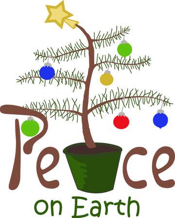Ho Ho Ho! De wens een vrolijk kerstfeest voor alle met deze leuke Charlie Brown Tree, zullen ze het geweldig vinden. Stock Illustratie