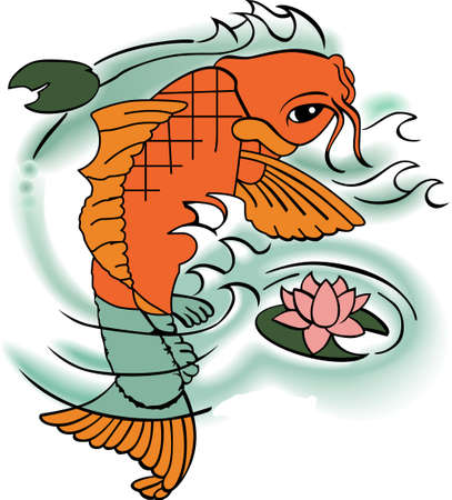 common carp: The koi is a symbol of a persons ability to have high expectations and for happiness.  This is a beautiful  design from Great Notions.